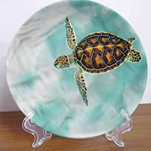 LCGGDB 10 Inch Turtle Pattern Ceramic Hanging Decorative Plate,Cute Endangered Baby Turtle Round Porcelain Ceramic Plate for Dining Table Setting, Wedding Reception Decorations, Christmas Tablescape
