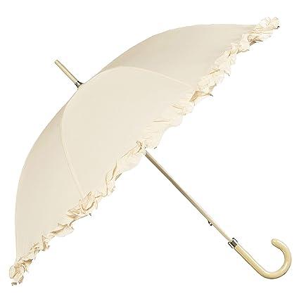 9373f2923c19 BOLERO OMBRELLI - Ombrello da Pioggia Lungo classico da Sposa adatto per il  tuo Matrimonio - apertura Manuale - Tessuto Pongee con Ruffle  Amazon.it   Casa e ...