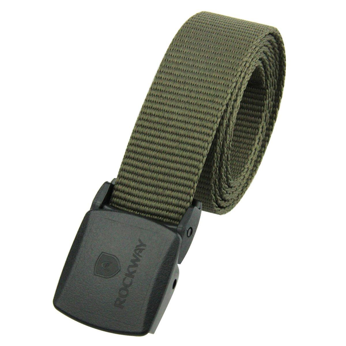 RockWay Men's Eco-friend Khaki PET with YKK POM Buckle Leisure Style Belt (Small/105cm)