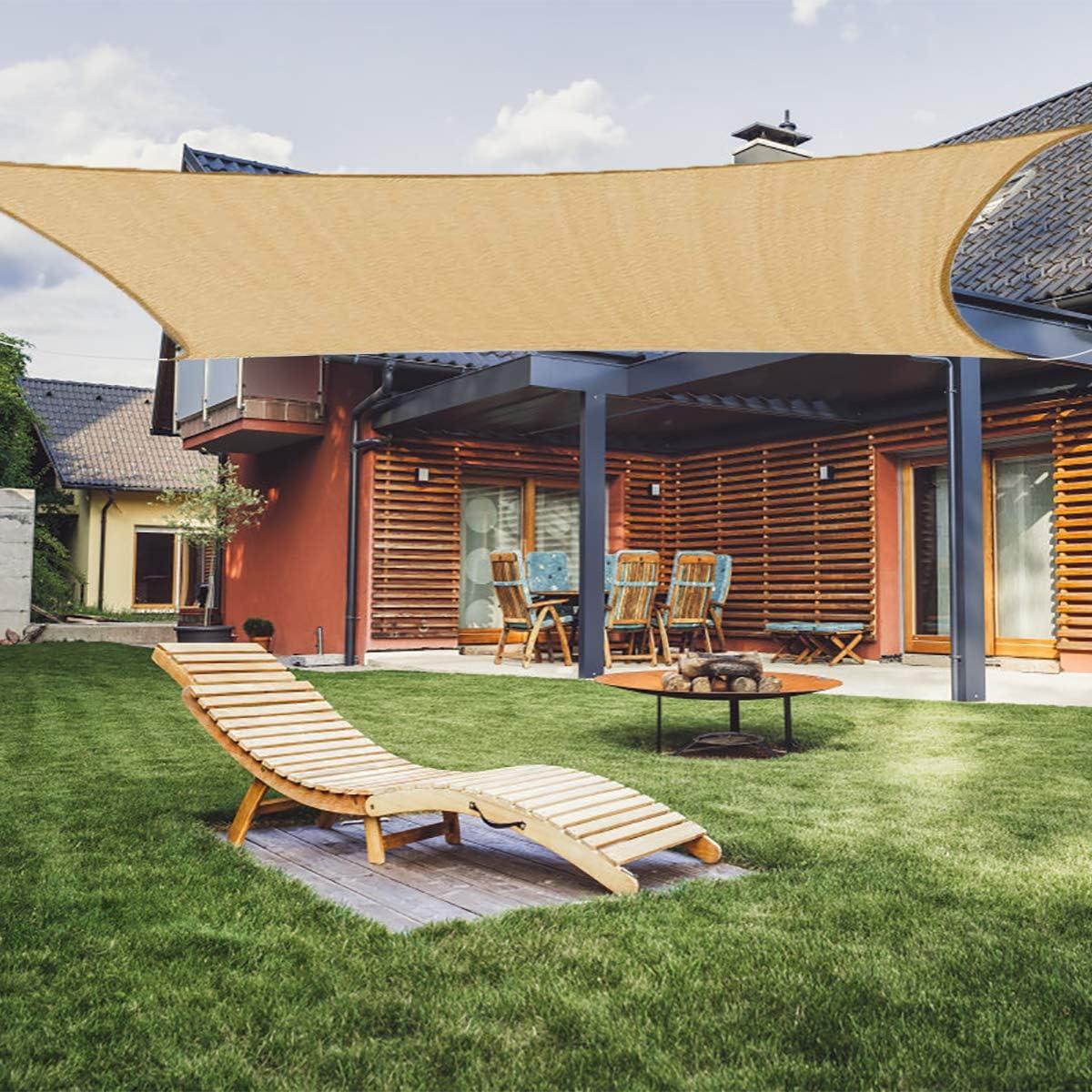 Akarden 8'x10 Sun Shade Sail Canopy Rectangle UV Block for Outdoor Patio Garden