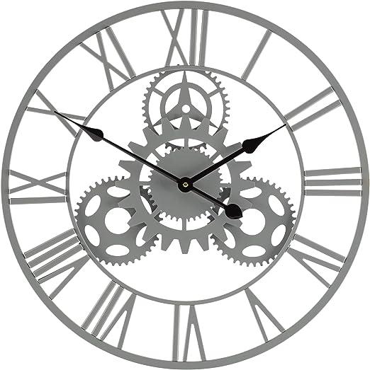 Wyegate - Reloj de Pared para jardín con números Romanos (Resistente al Agua), Grey Cog: Amazon.es: Jardín