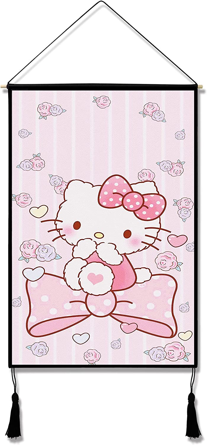 Hello Kitty Tapestry Anime Wall Scroll Cute Poster Hanger for Girls Bedroom Decor Birthday Gifts 15.7 x 23.6 in