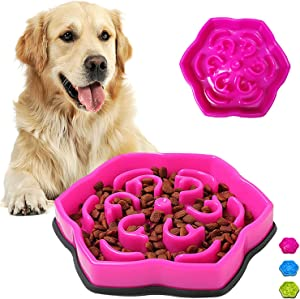 Slow Feeder Dog Bowls,Puzzle Feeder Bloat Stop to Slow Down Eating,Pet Slower Food Feeding Dishes for Medium Small Breed & Puppies(Red Rose)