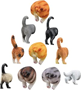Cat Butt Magnets Toys Set for Refrigerator - Set of 10 for Cat & Pet Lovers Stuff - Cat Tails - Perfect for Fridge, Whiteboard, Calendar - Cat Gifts & Decor