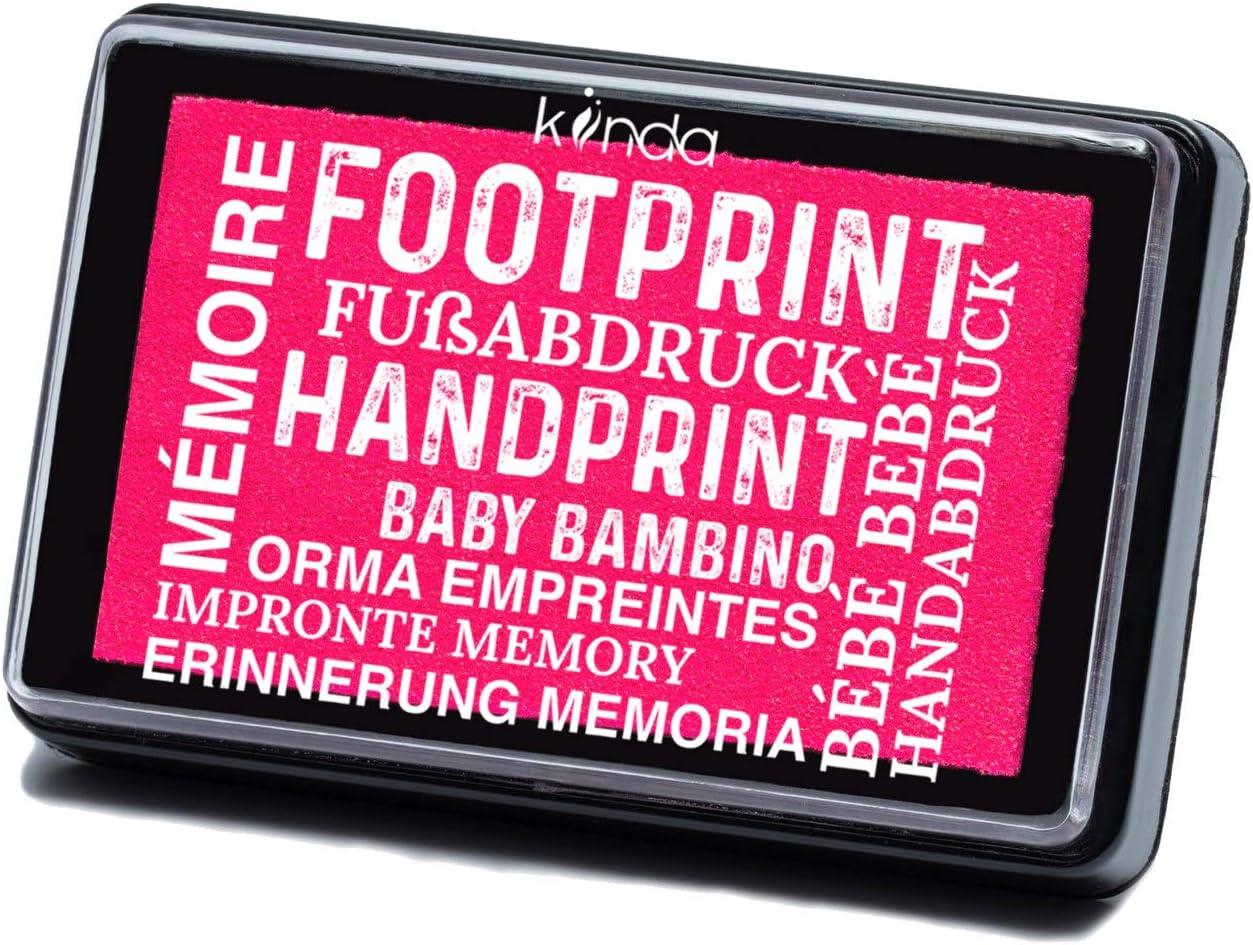Kit de impresión de huellas de mano y pies de Bebé - almohadilla con tinta segura para bebé para impresiones de manos y pies - fácil de lavar (hot pink)