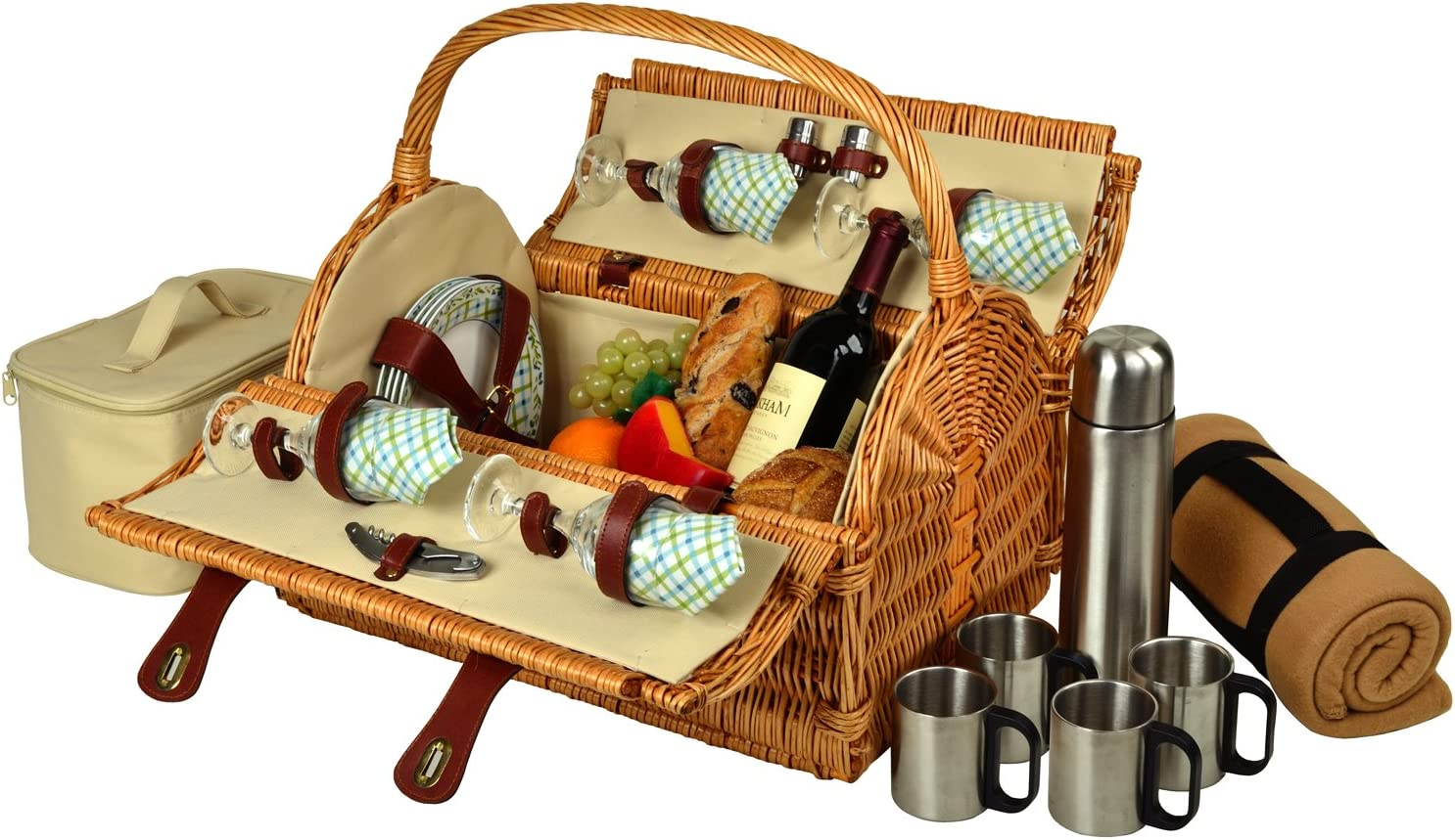 Picnic at Ascot Yorkshire Willow Picnic Basket with Service for 4 with Blanket and Coffee Set