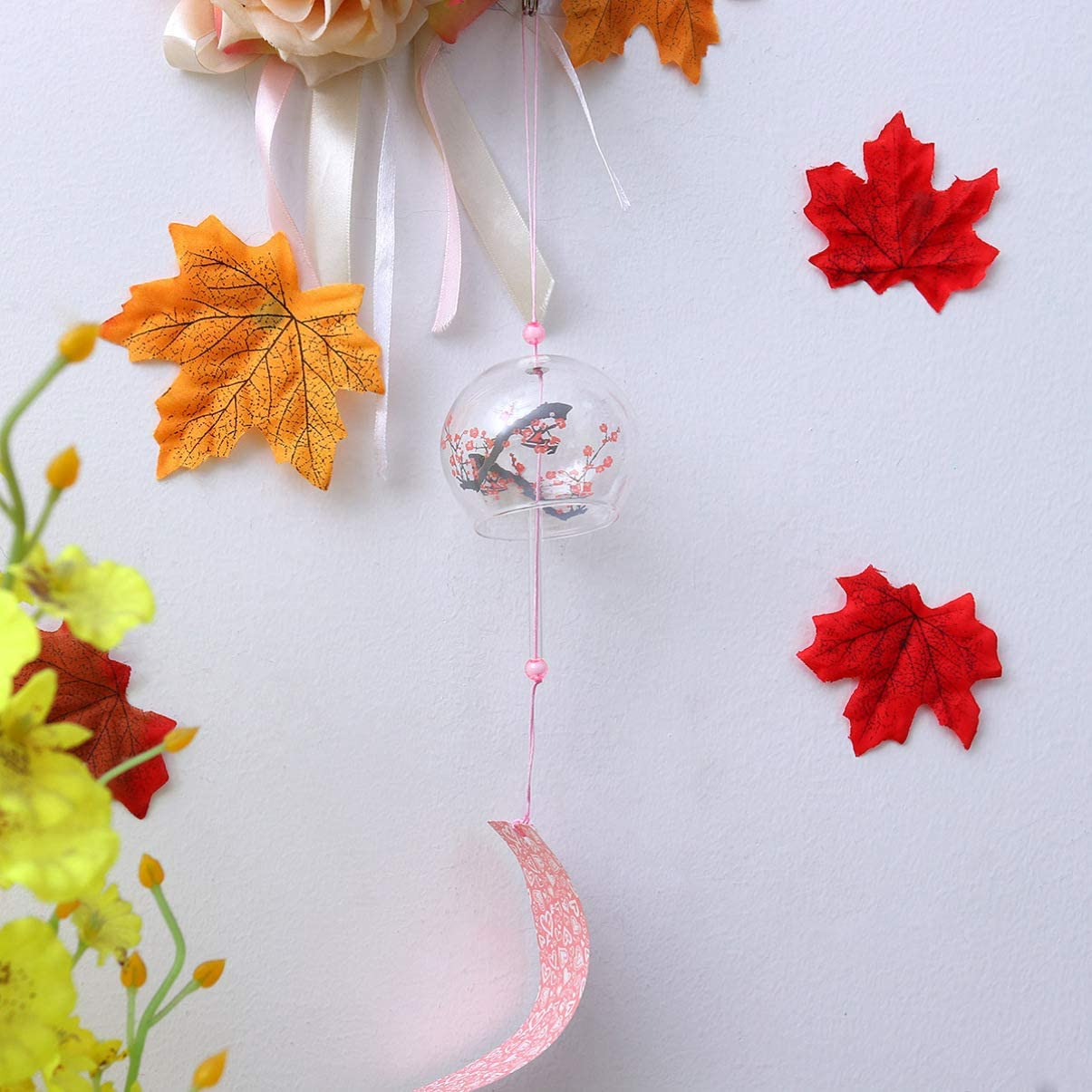 Amosfun Japanese Wind Chime Wintersweet Glass Wind Bells Decorative Hanging Wind Chime Hanging Decor for Car Interior Home