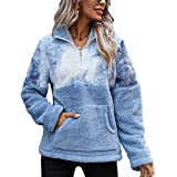 Les umes Womens Lightweight 1//4 Zipper Stand Collar Sherpa Fleece Sweatshirts Cozy Outerwear Pullovers/with Pockets