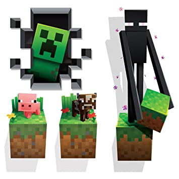 Minecraft Wall Cling Decal Set (Creeper, Enderman, Pig, Cow) Part 11