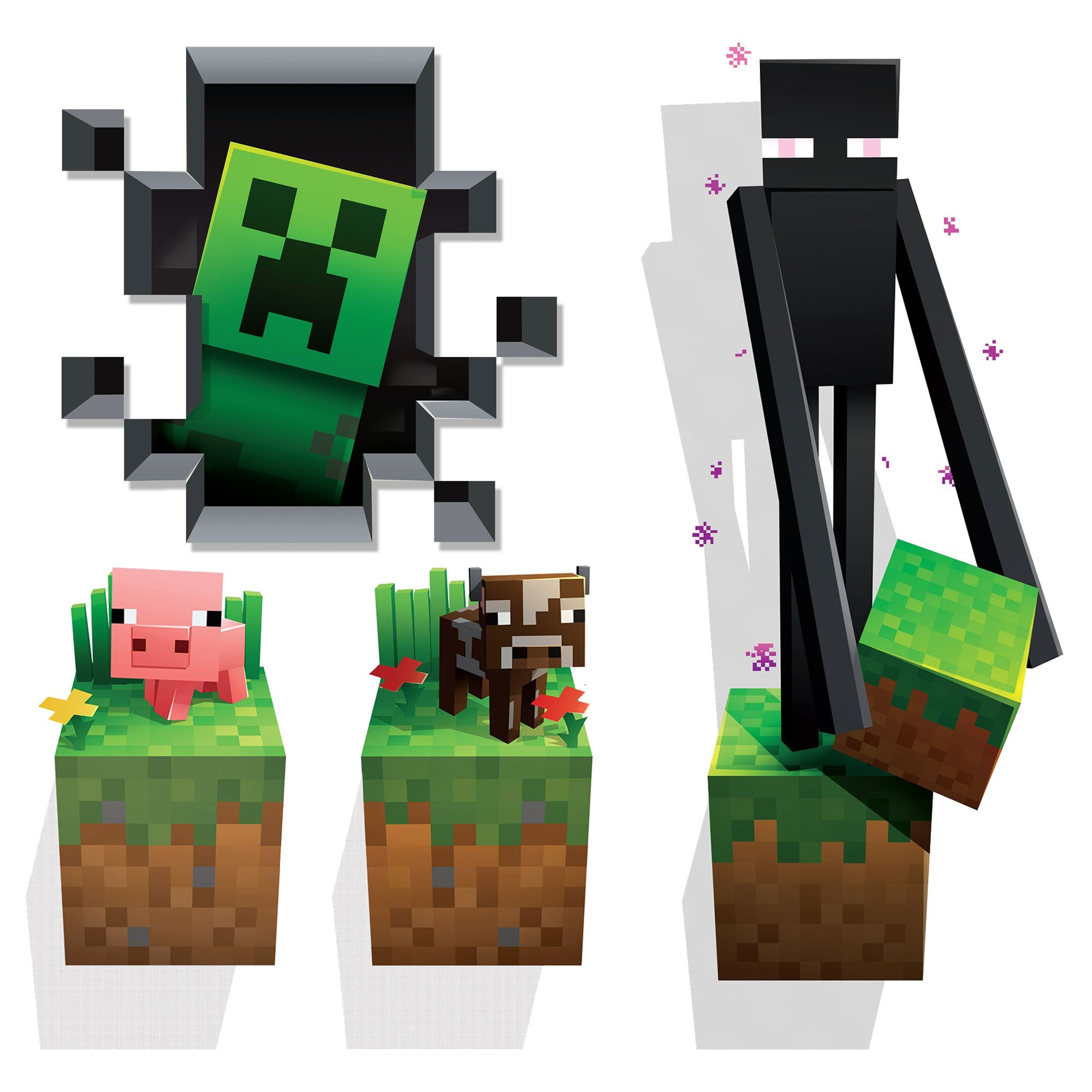 JINX Minecraft Wall Cling Decal Set (Creeper, Enderman, Pig, Cow) by JINX (Image #1)