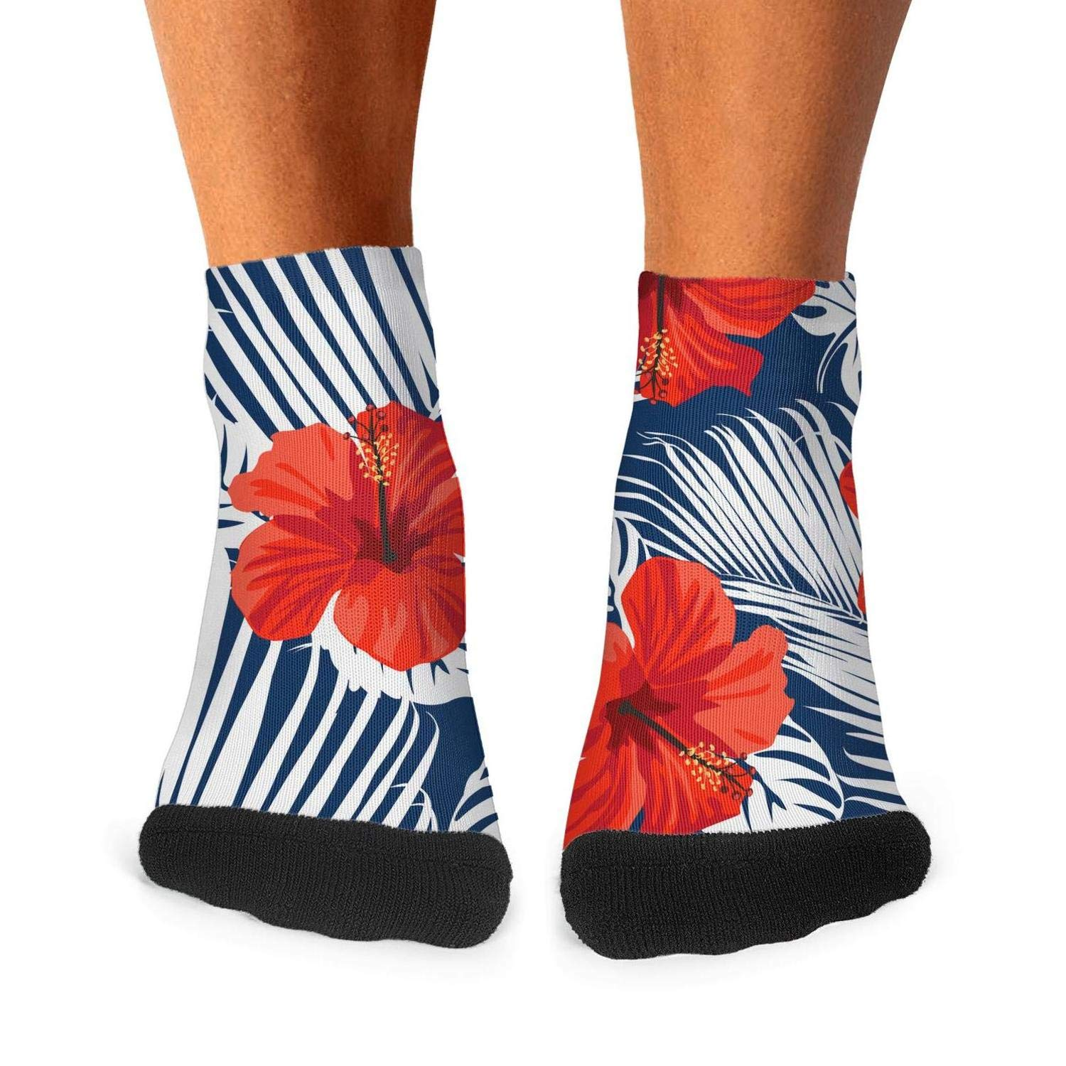 Mens athletic low cut Ankle sock tropical floral Exotic hibiscus Short Outdoor Sock