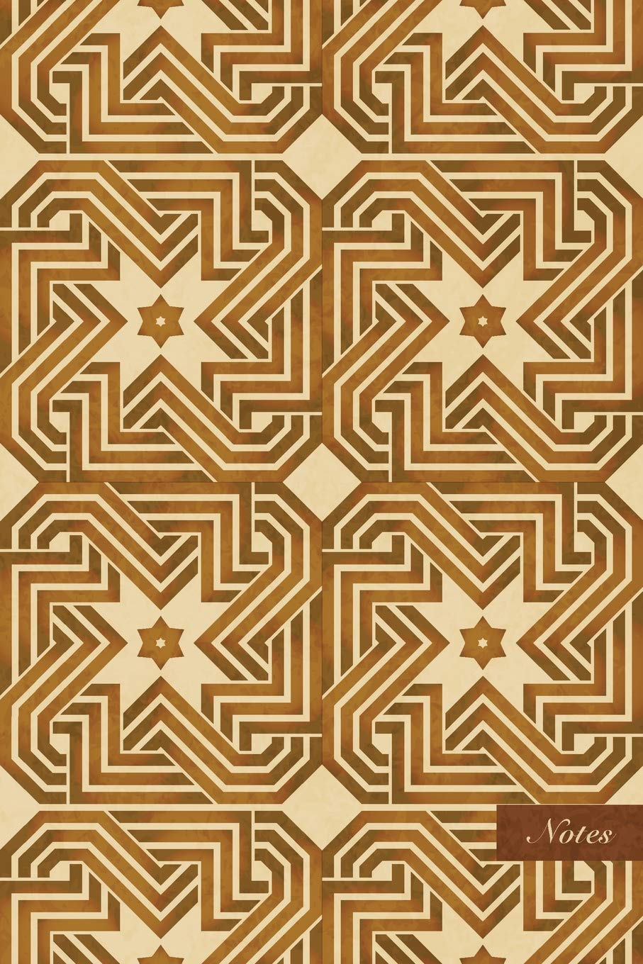 """Notes: 6""""x9"""" Ruled Lined Notebook - Star Spiral Vortex Cross Frame Line - Retro Brown Worn Out Vintage Seamless Pattern Cover. Matte Softcover And Cream Interior Papers. pdf"""