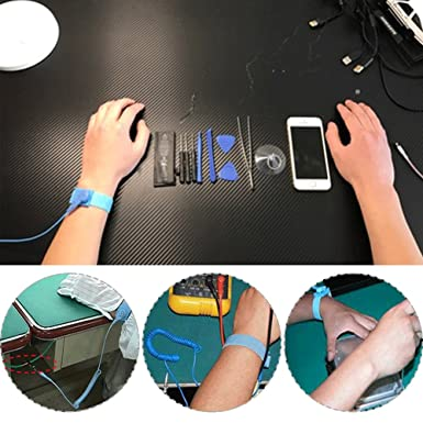 ESD Anti-Static Wrist Strap Components Grounding Solution for Working on Sensitive Electronic Devices DaKuan 6 Packs Anti-Static Wrist Straps Equipped with Grounding Wire and Alligator Clip