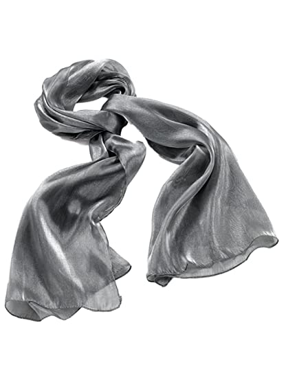 d7403458e5be3 Image Unavailable. Image not available for. Color: Large Silver Grey  Metallic Look Sheer Fashion Neck Scarf ...