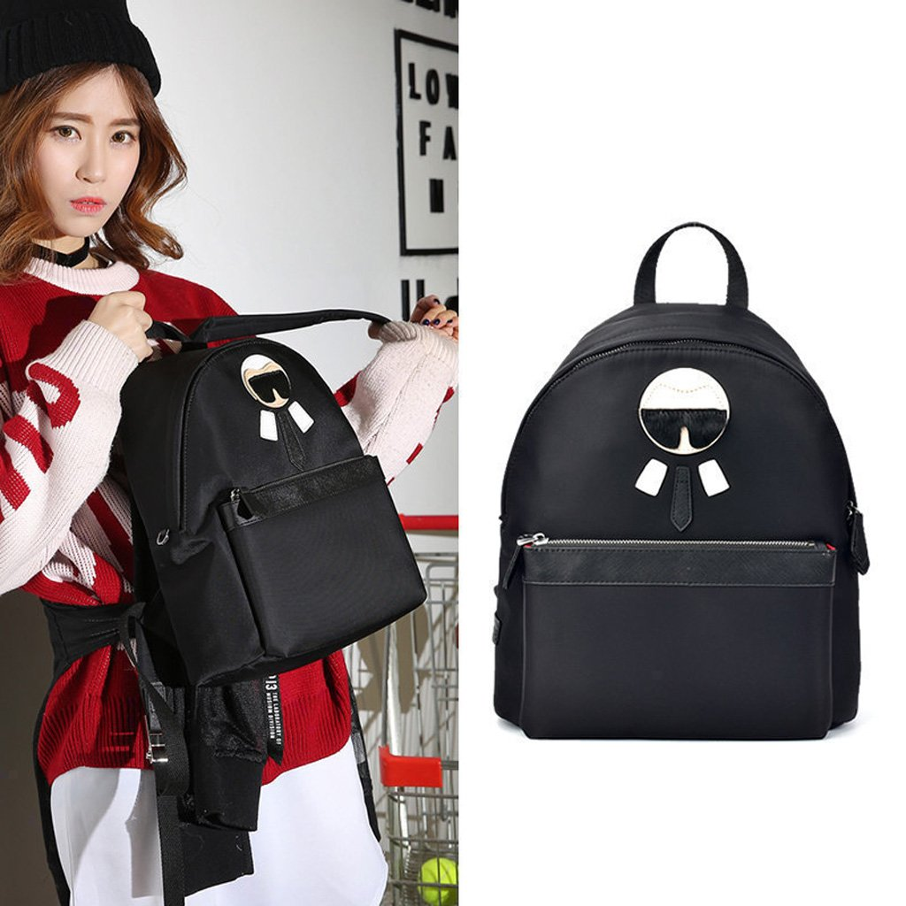 DEI QI New Womens Backpack Campus Fashion Small Backpack Waterproof Nylon Casual Shopping Backpack Black