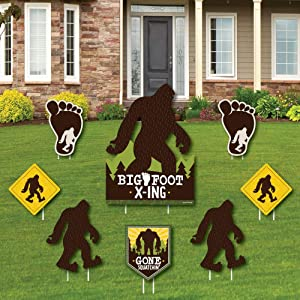 Big Dot of Happiness Sasquatch Crossing - Yard Sign and Outdoor Lawn Decorations - Bigfoot Party or Birthday Party Yard Signs - Set of 8