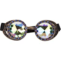 Focussexy Spiked Goggles Kaleidoscope Steampunk Rave with Crystal Glass Lens