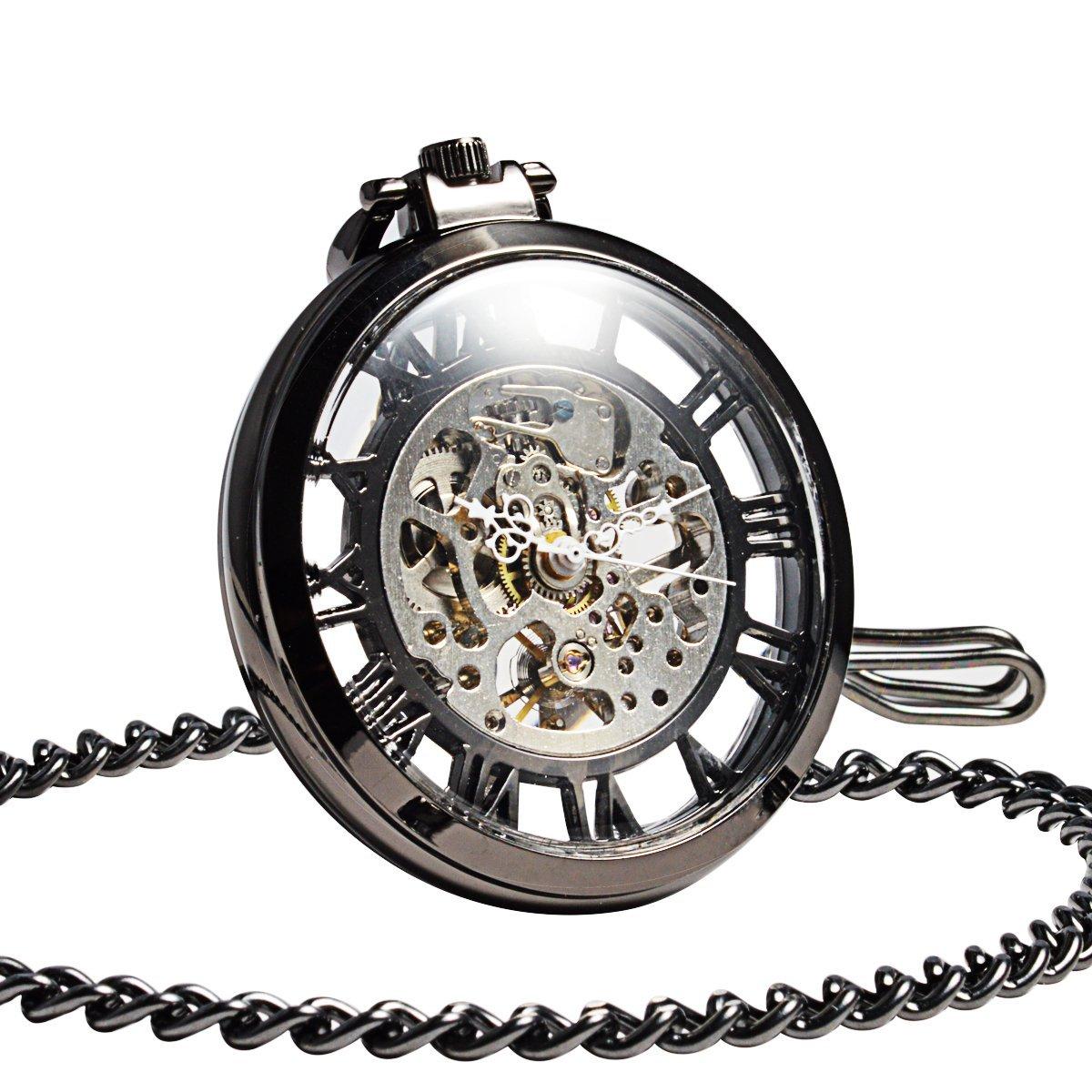ManChDa Steampunk Mechanical Black Skeleton Big Size Hand Winding Pocket Watch Open Face Fob for Men