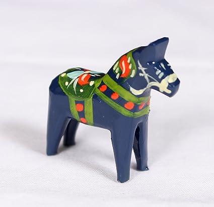 Amazon.com: De madera tradicional sueco Dala caballo – Azul ...