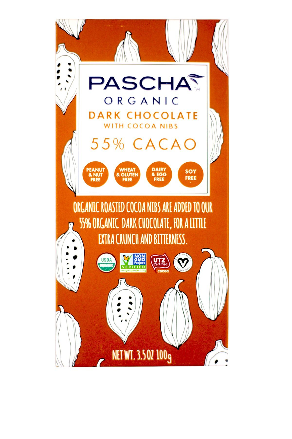 Pascha Organic Dark Chocolate with Cocoa Nibs, 55% Cacao, 3.5 Ounce