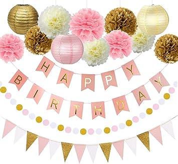 Amazon.com: Decoración de fiesta de cumpleaños rosa y dorada ...