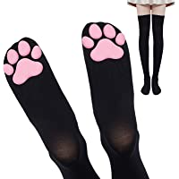 Pink Cat Paw Pad Thigh High Socks Cute 3D Kitten Claw Stockings for Girls Women Lolita Cat Cosplay