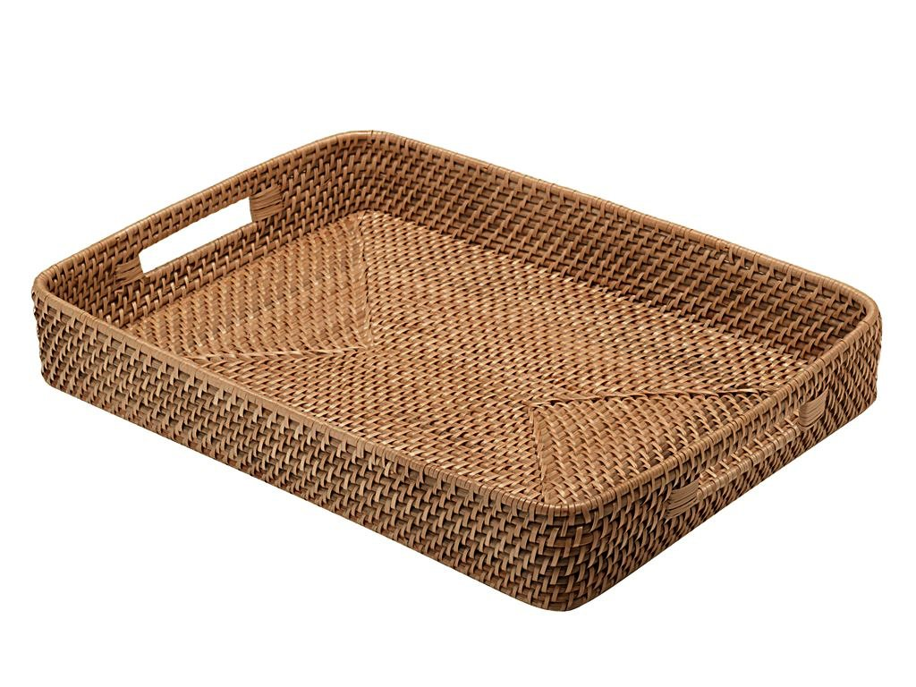 KOUBOO Rattan Serving Tray with Cut-Out Handles, Honey Brown 1020013