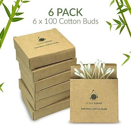 Paquete de 600 unidades (6 x 100) de algodón de bambú por Ocean Saver | Embalaje libre de plástico respetuoso con el medio ambiente | 100% biodegradable | 100% algodón natural: Amazon.es: Belleza