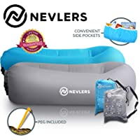 Nevlers Inflatable Lounger with Side Pockets and Matching Travel Bag - 2 Pack - Waterproof and Portable - Great and Easy to Take to The Beach, Park, Pool, and as Camping Accessories…