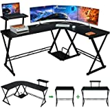 """GreenForest L Shaped Desk 64"""" Large Size Reversible Corner Computer Desk with Movable Shelf and CPU Stand, Gaming Desk with S"""
