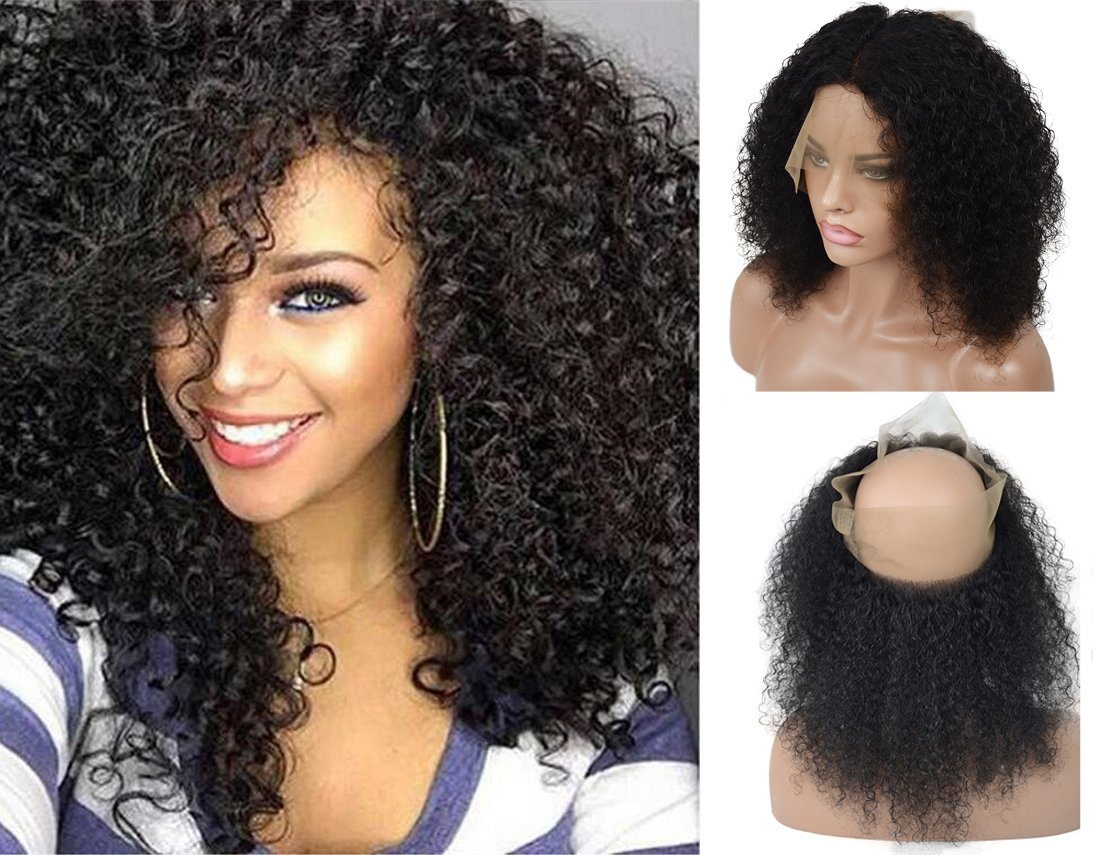 [LIMITED TIME SALE]Pre Plucked 360 Brazilian Virgin Human Hair Lace Frontal Closure for Women, Veer 130% Density Curly Hair With Baby Hair for Black Women Natural Black(#1B) 16inch by Veer (Image #1)
