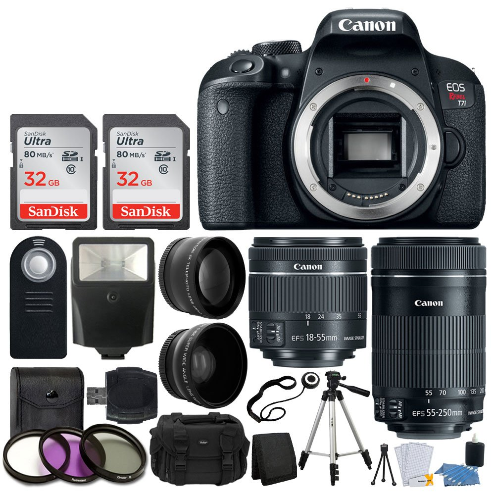 Canon EOS Rebel T7i Digital SLR Camera + EF-S 18-55mm IS STM Lens + EF-S 55-250mm IS STM Lens + Wide Angle Lens & 2x Telephoto Lens + 64GB Memory Card + Flexible Tripod + Complete Accessory Bundle by PHOTO4LESS