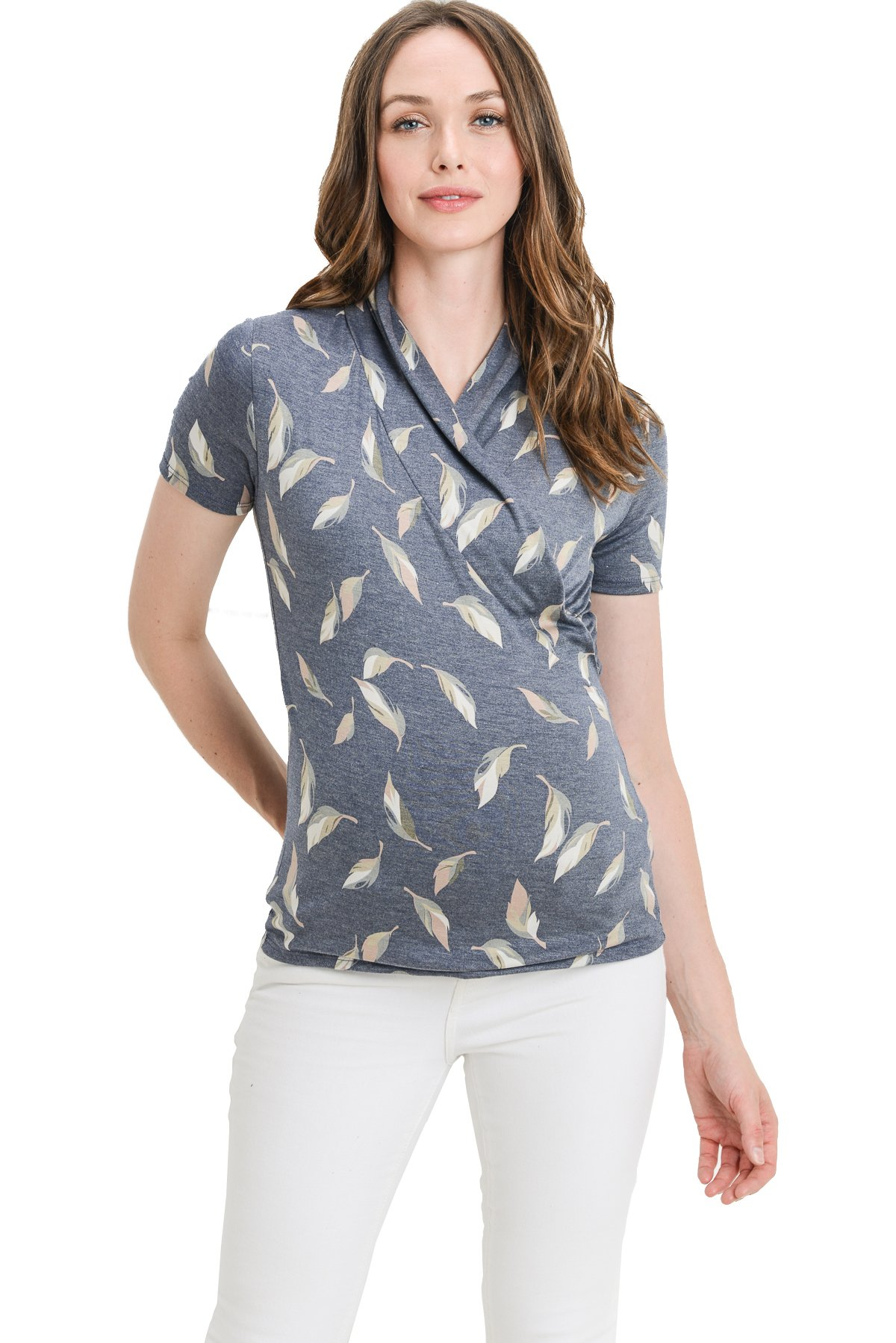 LaClef Women's Short Sleeve Surplice Maternity Nursing Top (M, Navy Leaf)