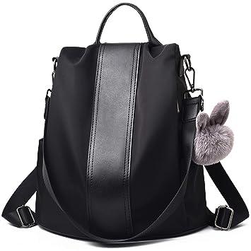 84ff9e5425abf Leefrei Damen Rucksack Damen Tasche Leder Daypack Backpacks  Freizeitrucksack (Elegant-Schwarz)