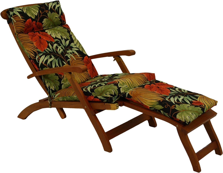 Blazing Needles Steamer Deck Outdoor Lounger Cushion, Pike Azure