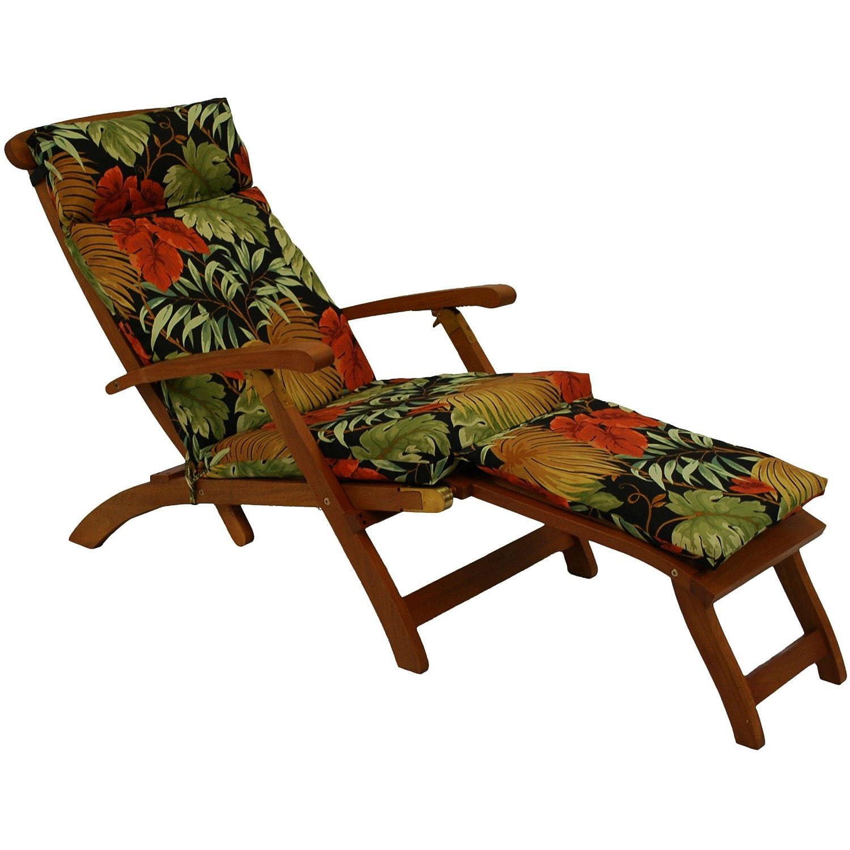 Blazing Needles Steamer Deck Outdoor Lounger Cushion, Annie Chocolate