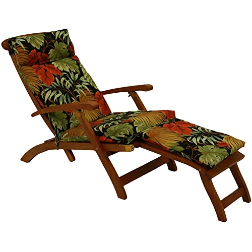 Blazing Needles Steamer Deck Outdoor Lounger Cushion, Farrington Terrace Grenadine