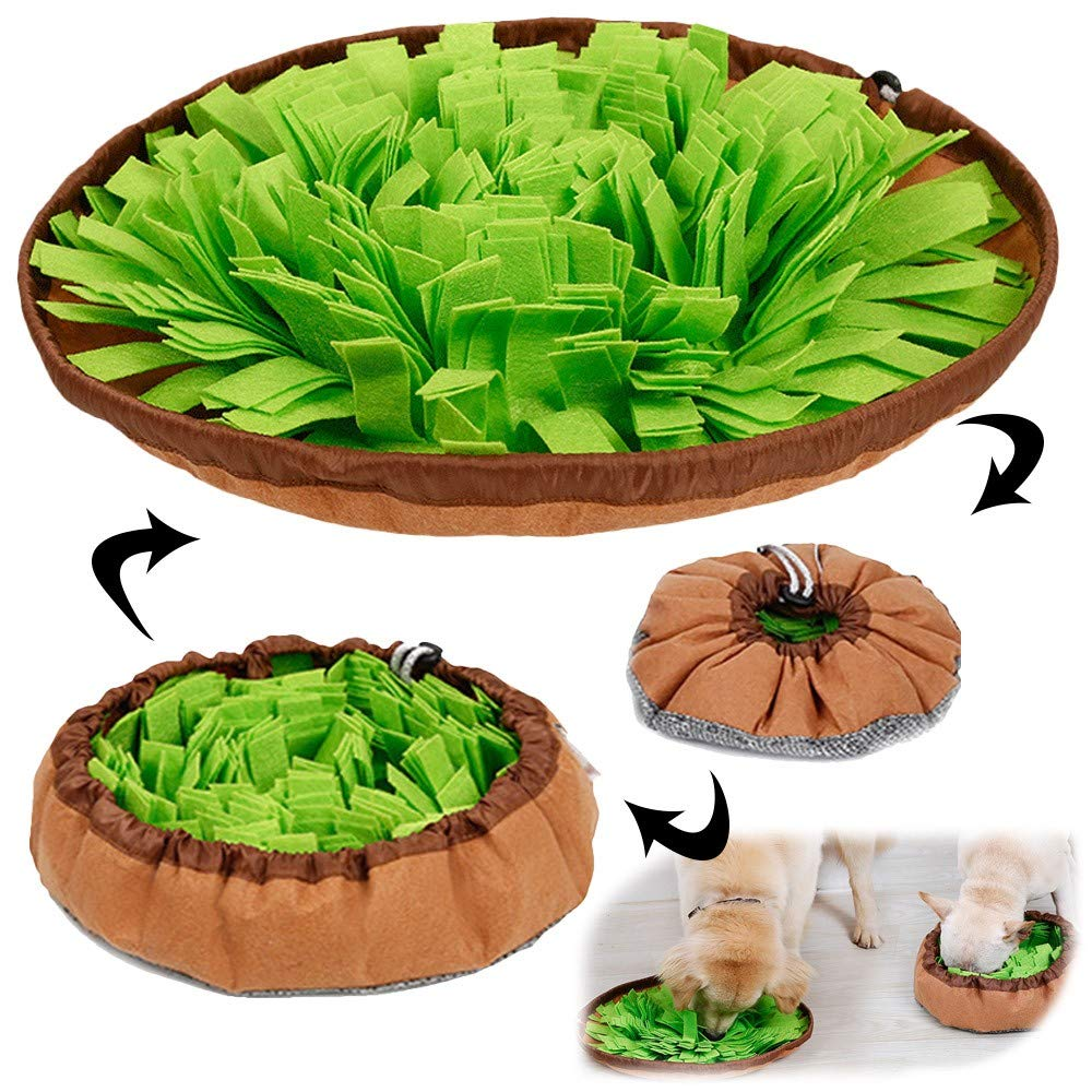 AWOOF Dog Puzzle Toys, Pet Snuffle Mat for Dogs, Interactive Feed Game for Boredom, Encourages Natural Foraging Skills for Cats Dogs Bowl Travel Use, Dog Treat Dispenser Indoor Outdoor Stress Relief by AWOOF