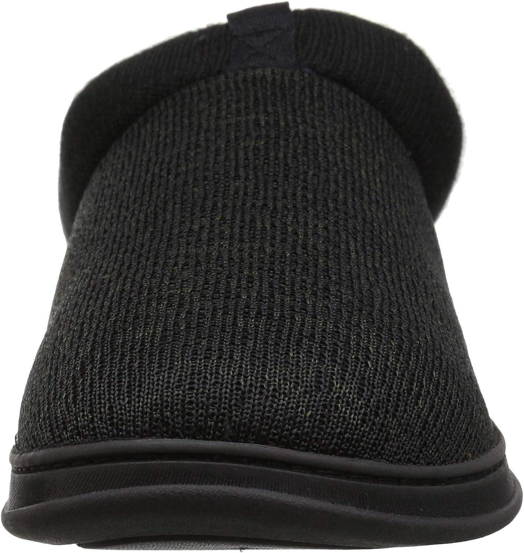 Dearfoams Mens Clog with Rib Knit Cuff Slipper