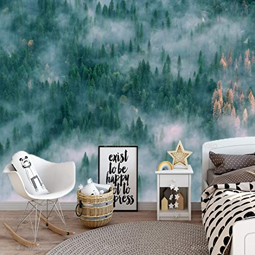 Amazon Com Muraviewall Green Foggy Forest Landscape Wallpapers Print Painting Home Decor Wall Decor Removable Peel And Stick Wallpaper Office Wallpaper Living Room Wallpaper Peel And Stick I Custom Size Handmade