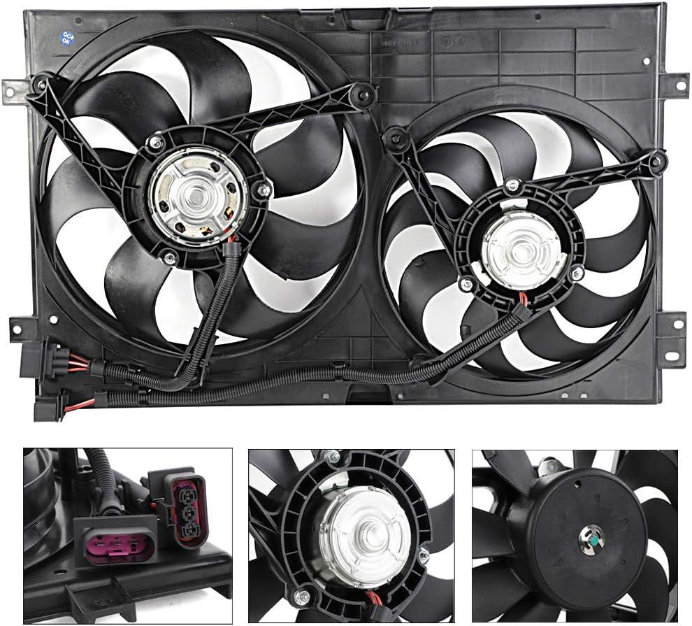 620-799 Dual Radiator Cooling Fan & Motor Assembly Fit for Volkswagen Jetta Golf Audi TT Quattro VW3115103
