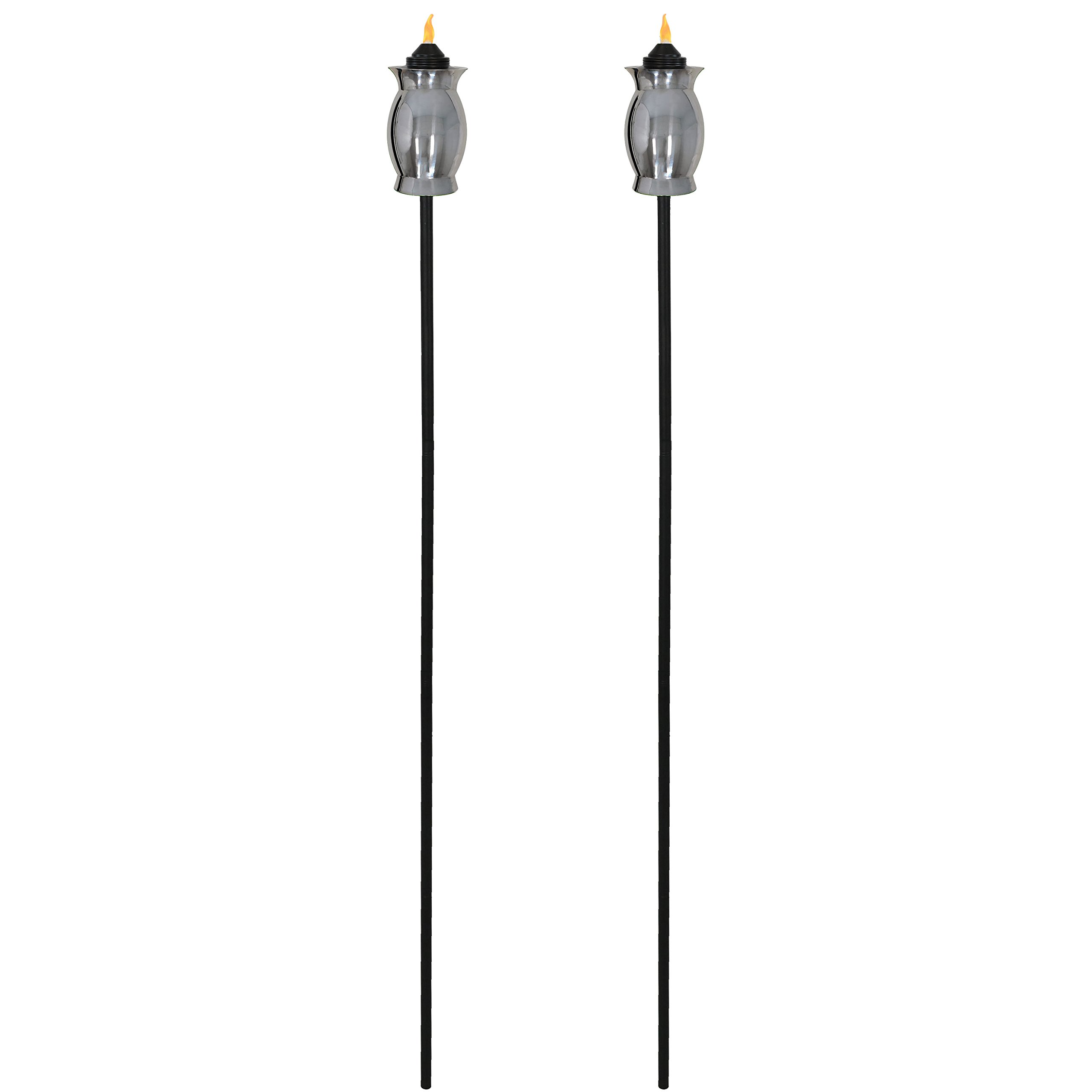 Sunnydaze Stainless Steel Outdoor Torches with Black Snuffer, Metal Patio Citronella Torch, 23- to 65-Inch Adjustable Height, 3-in-1, Set of 2 by Sunnydaze Decor (Image #4)