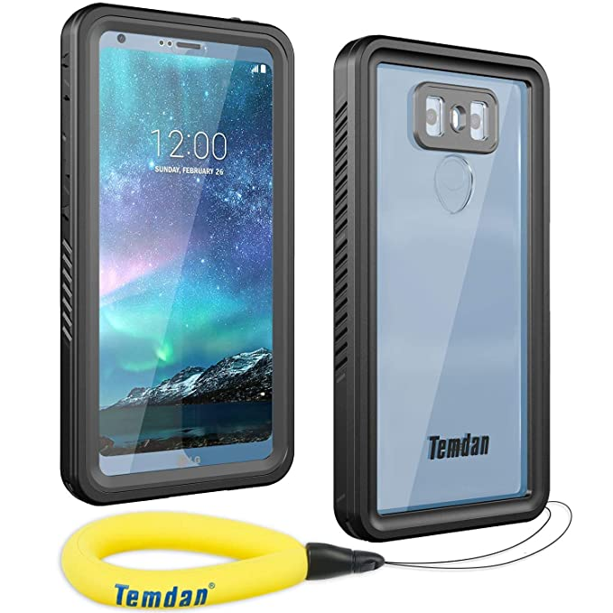 brand new 15c64 4380c Temdan LG G6 Waterproof Case with Floating Strap Built in Screen Protector  Shockproof Full Body Portect Clear Cover Case for LG G6