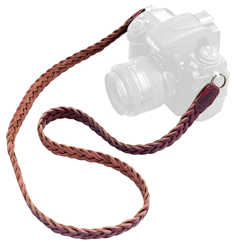 b.still Braided Leather Camera Neck Strap - Fits Film DLSR Leica Canon Nikon Fuji Olympus Lumix Sony + FREE Lens Bag by b.still