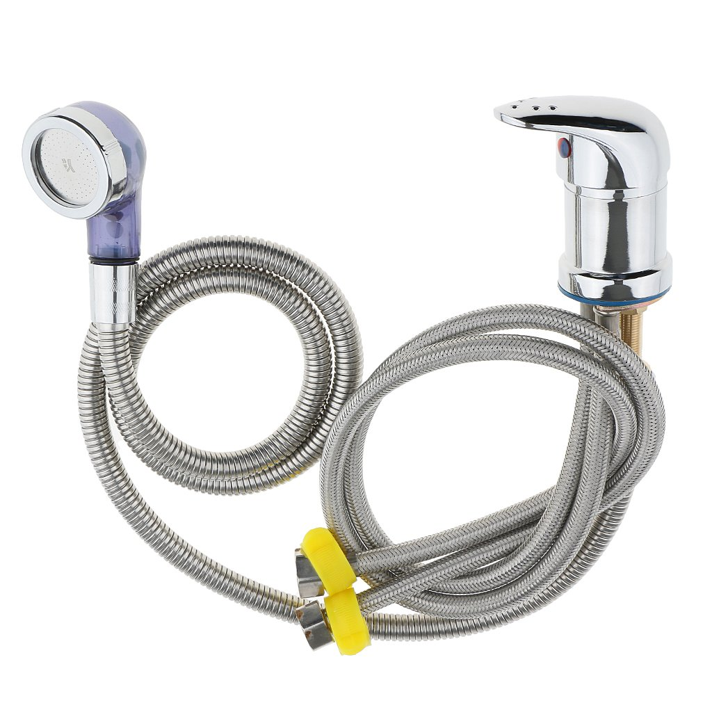 Hot Cold Faucet with Spray Hose Replacement Part Set for Spa Beauty Salon Shampoo Bowl Sink 60cm/70cm/80cm - 70cm by MonkeyJack
