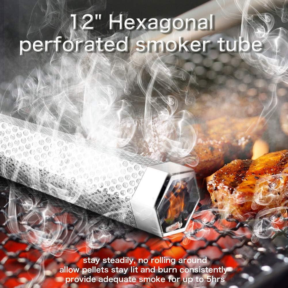 Pellet Smoker Tube 12/'/' Stainless Steel Bbq Wood Pellet Tube Smoker For Cold//Ho