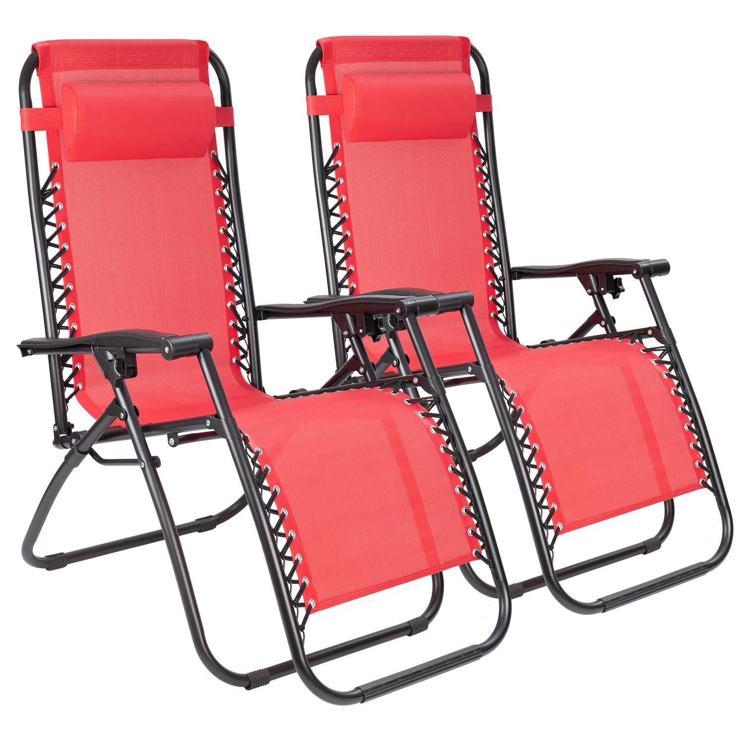 JUMMICO Zero Gravity Chair Patio Outdoor Adjustable Reclining Folding Chair Lawn Lounge Chair for Deck Beach Yard and Beach with Pillows Set of 2 Red