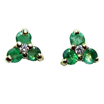 476259e33 Amazon.com: 14k Yellow Gold Genuine Emerald and Diamond Stud ...