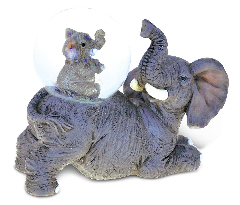 Puzzled Elephant (45MM) Resin Stone Finish Snow Globe - Animal Theme - Unique Elegant Gift and Souvenir - Item #9478