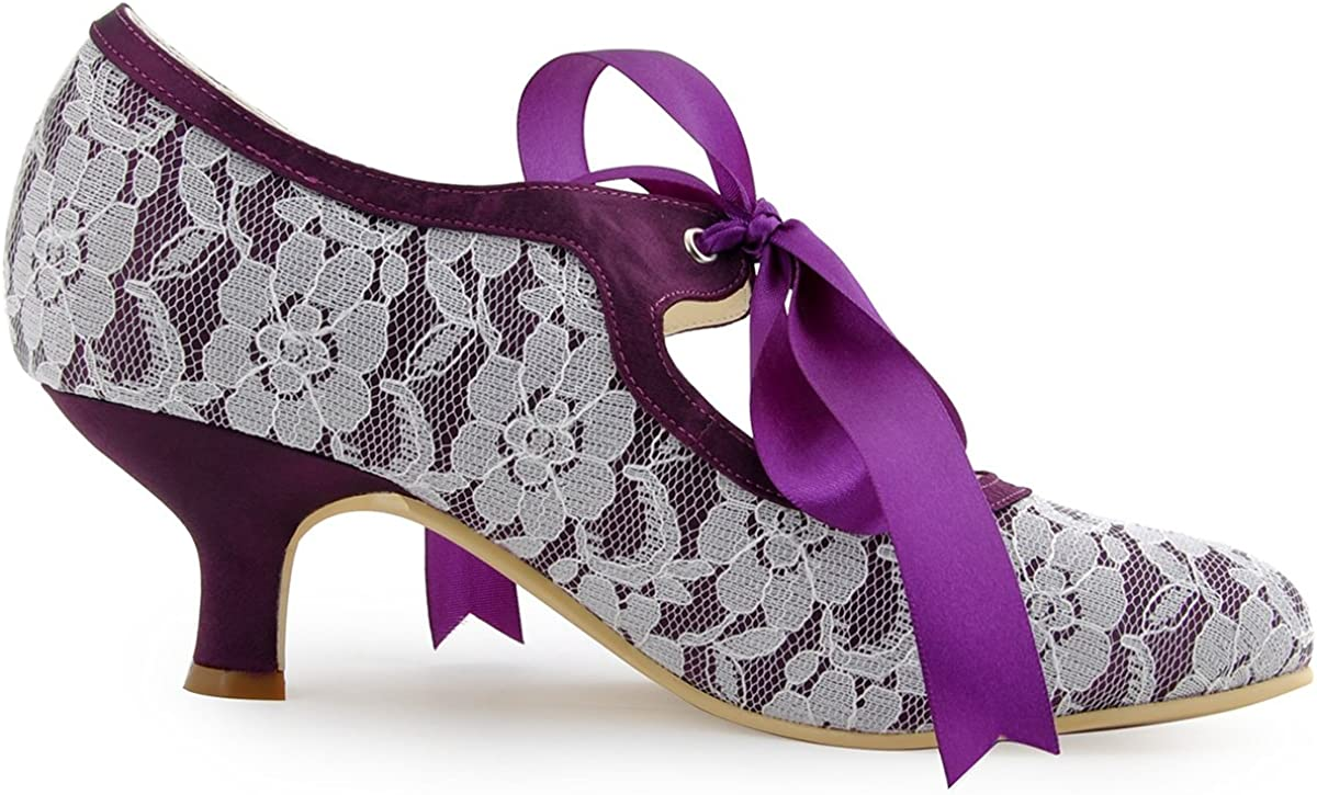 Elegantpark A3039-2 Women Pumps Closed Toe Mid Heels Mary Jane Prom Lace Ribbon Tie Wedding Party Shoes Purple